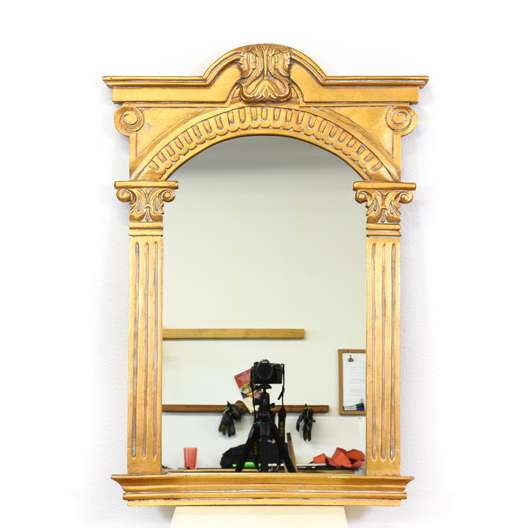 Empire Style Carved Gold Column Mirror