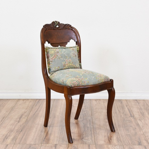 Carved Victorian Chair W Blue Floral Needlepoint