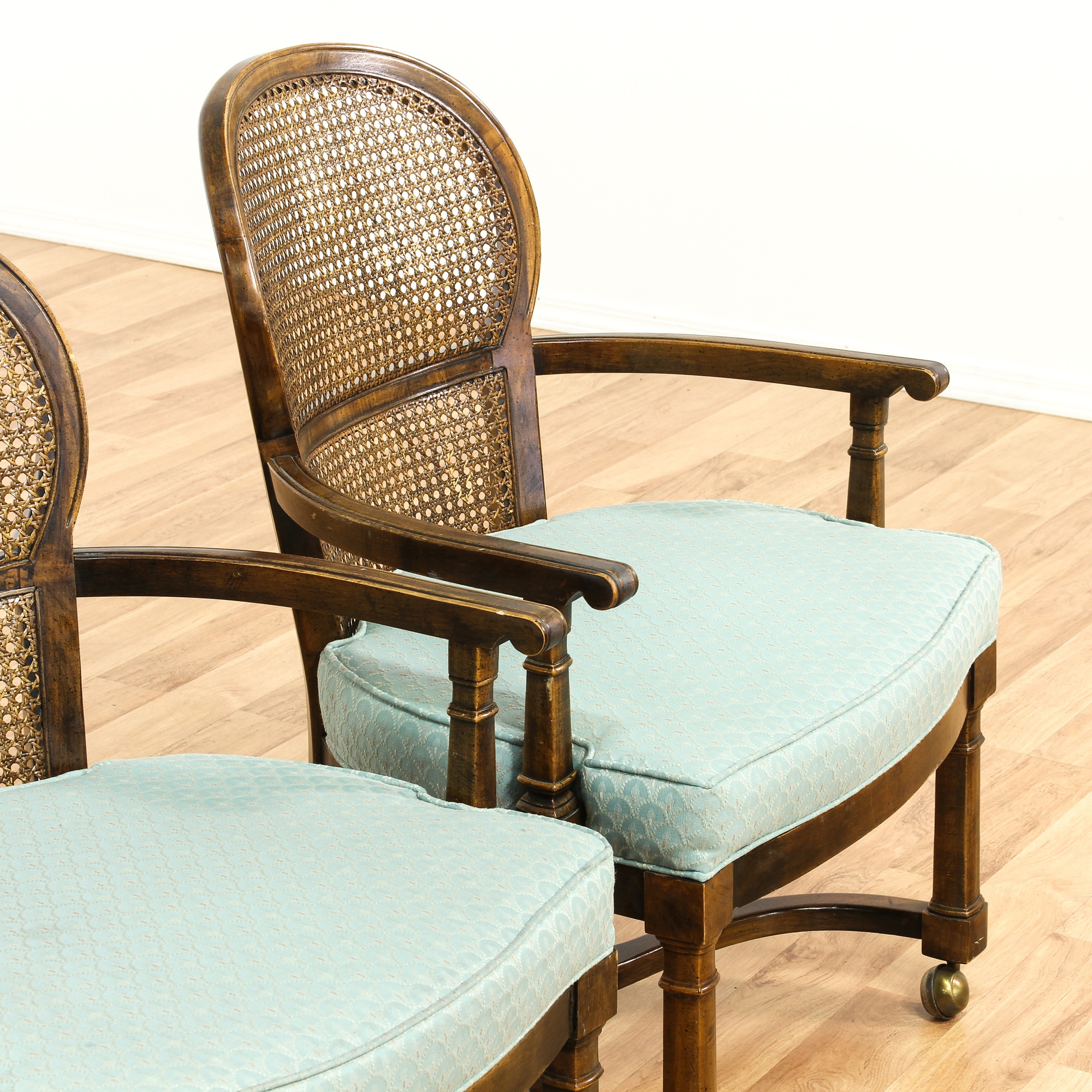 Rolling Dinette Chairs: Set Of 4 Rolling Cane Back Dining Chairs