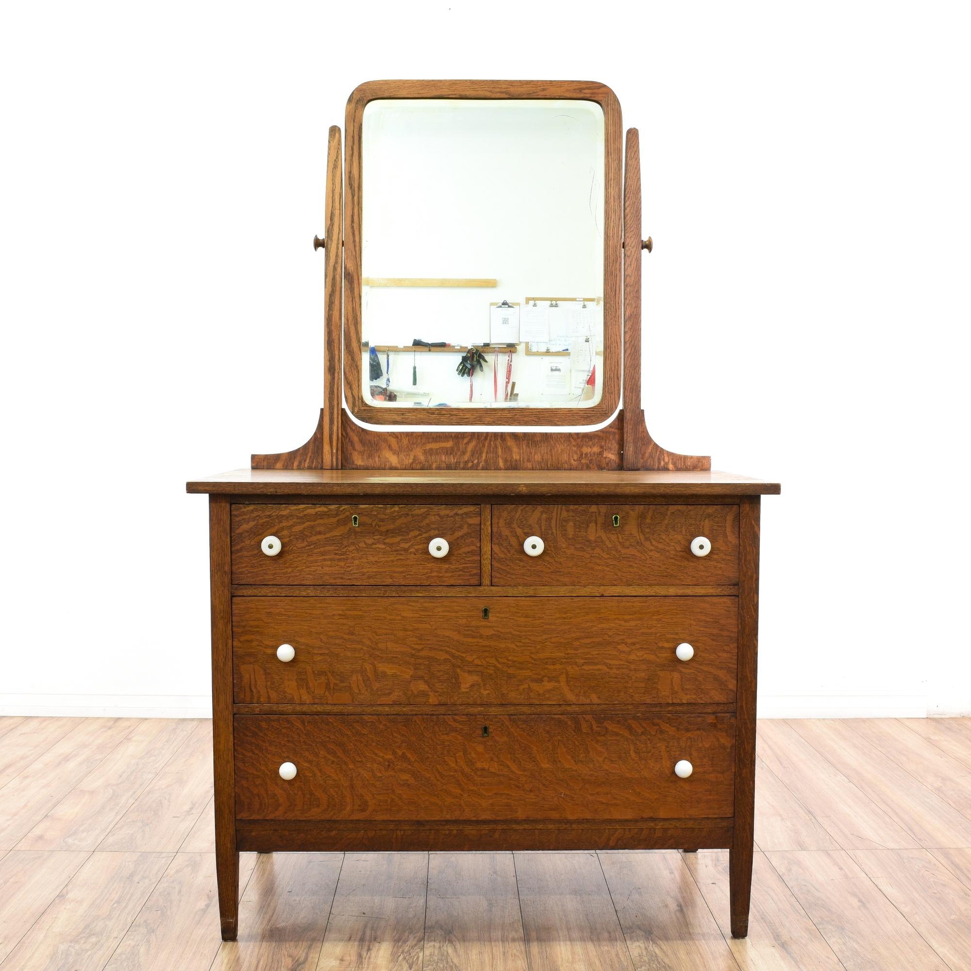 antique tiger oak vanity dresser w mirror loveseat vintage furniture san diego los angeles. Black Bedroom Furniture Sets. Home Design Ideas