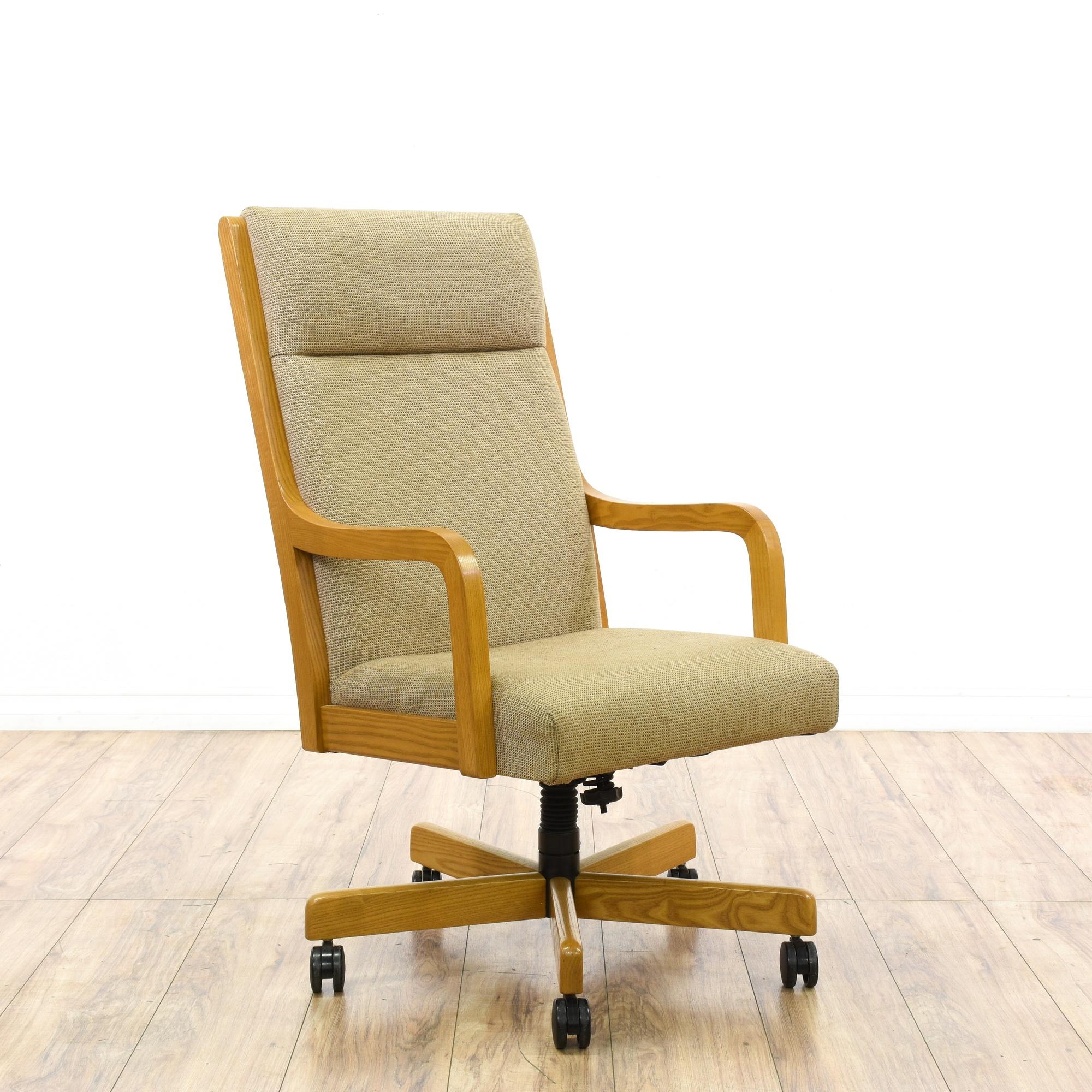 Mid Century Modern Light Oak Beige Office Chair