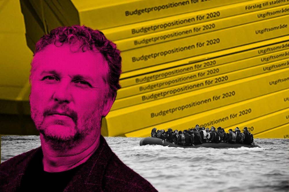Kollage av Biståndsminister Peter Eriksson, flyktingar på båt i medelhavet och budgetpropositionen.
