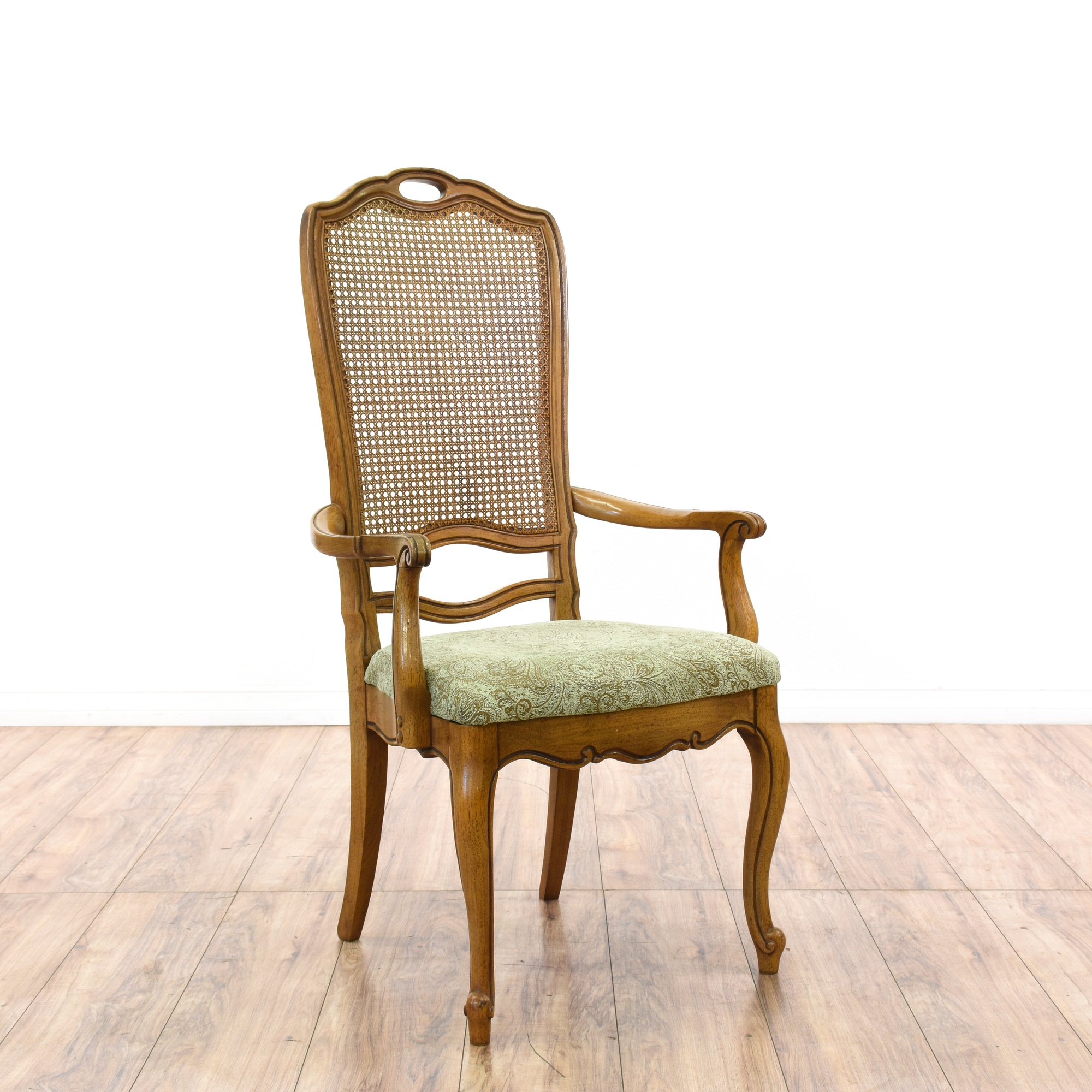 Dining Room Chairs San Diego: Set Of 6 Cane Back Green Floral Dining Chairs