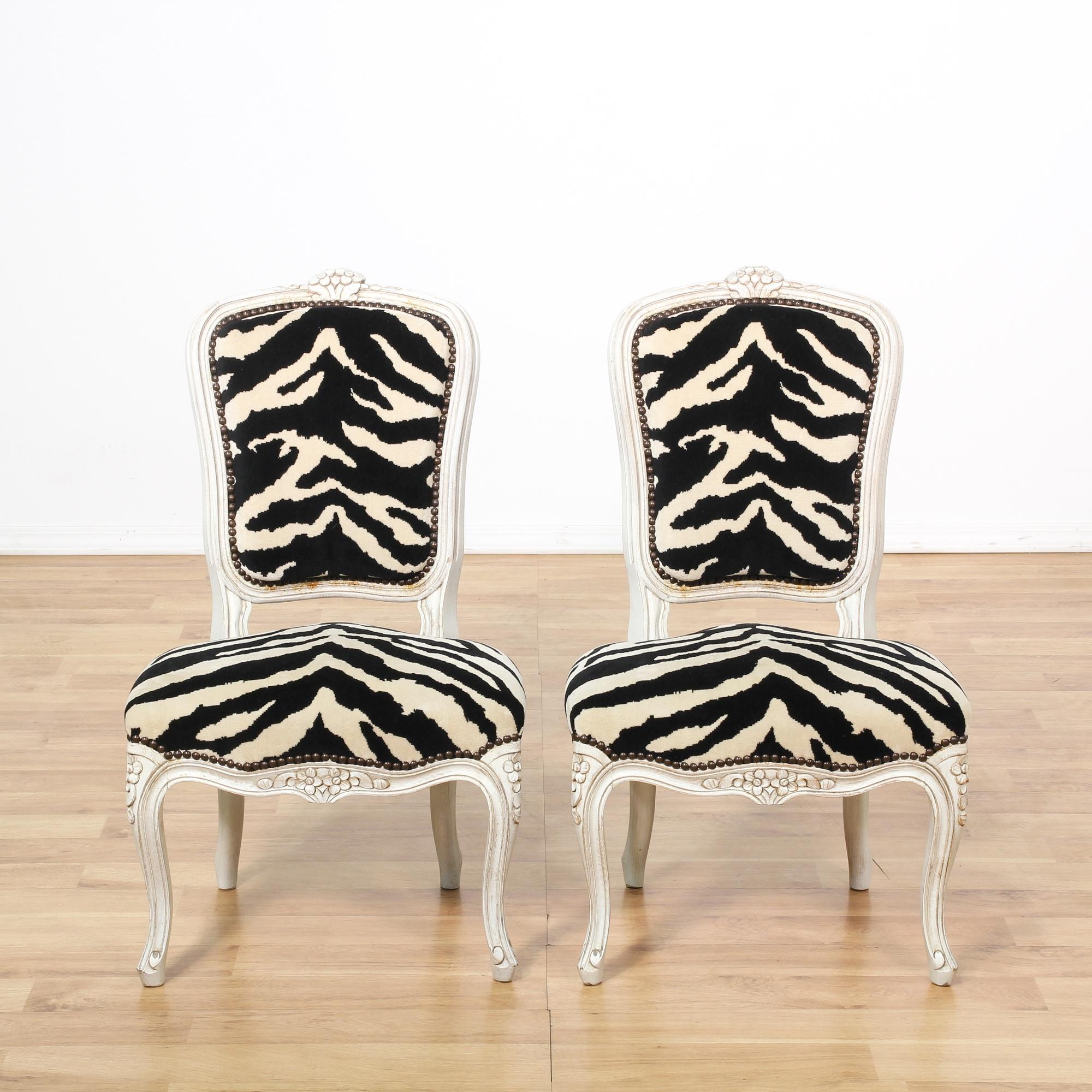 Pair Of Zebra Print Upholstered Side Chairs Loveseat Vintage Furniture San Diego Los Angeles