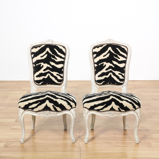 Pair Of Zebra Print Upholstered Side Chairs Loveseat Vintage Furniture San Diego Los Angeles