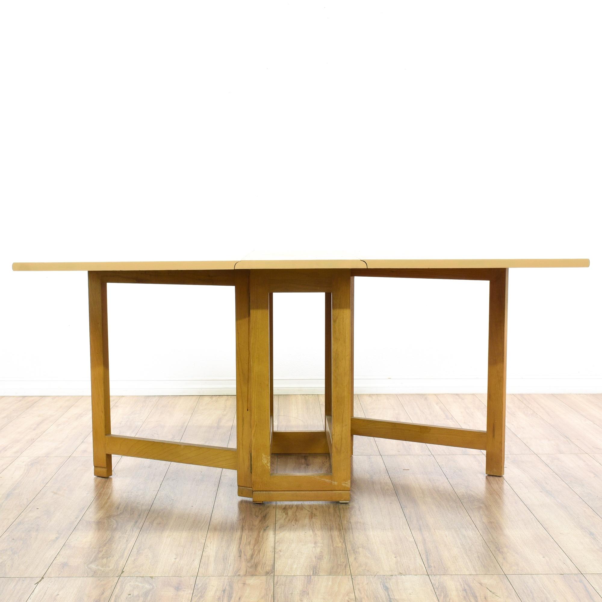 Light Blonde Wood Drop Leaf Dining Table | Loveseat Vintage Furniture San  Diego