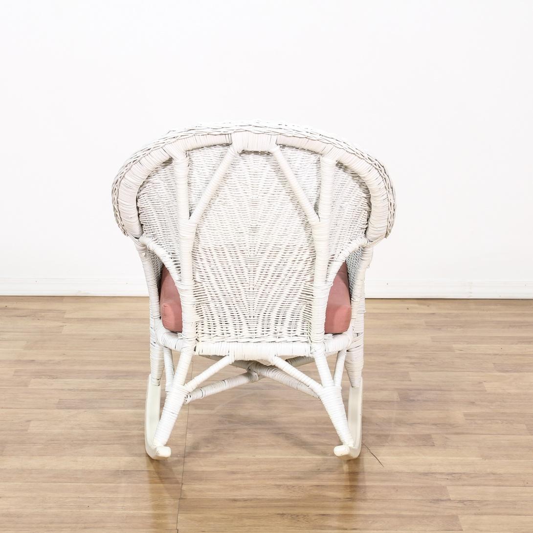 Cottage Chic White Wicker Rocking Chair Loveseat Vintage Furniture San Diego Los Angeles