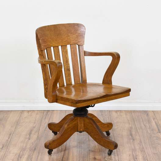 Rustic Oak Rolling Banker's Chair