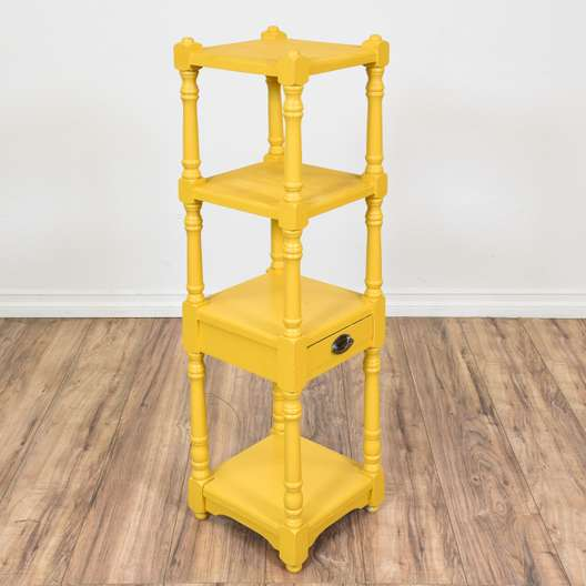 Vibrant Yellow Carved Tiered Shelf