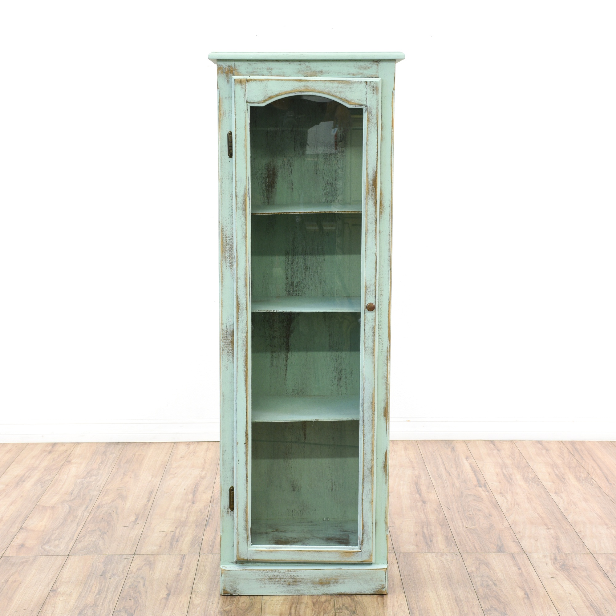 Light Blue Shabby Chic Narrow Display Cabinet Loveseat