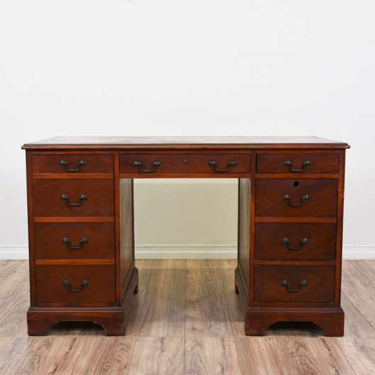Cherry 4 Drawer Kneehole Desk