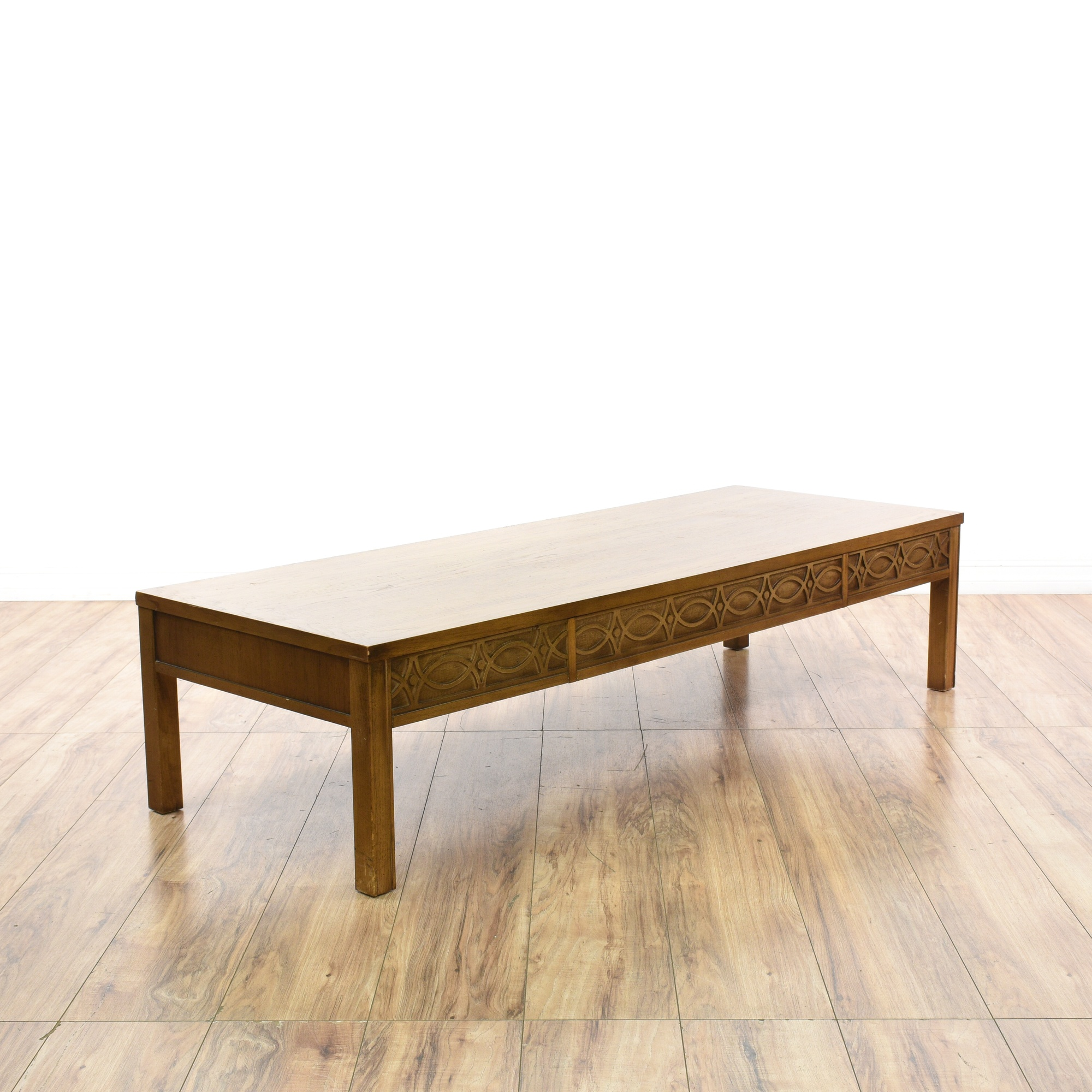 "Lane Pearsall Style Mid Century Modern Coffee Table: ""Lane"" Carved Mid Century Modern Coffee Table"