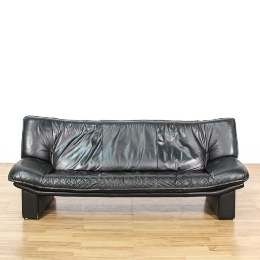 Contemporary Black Leather Lounge Sofa Loveseat Vintage