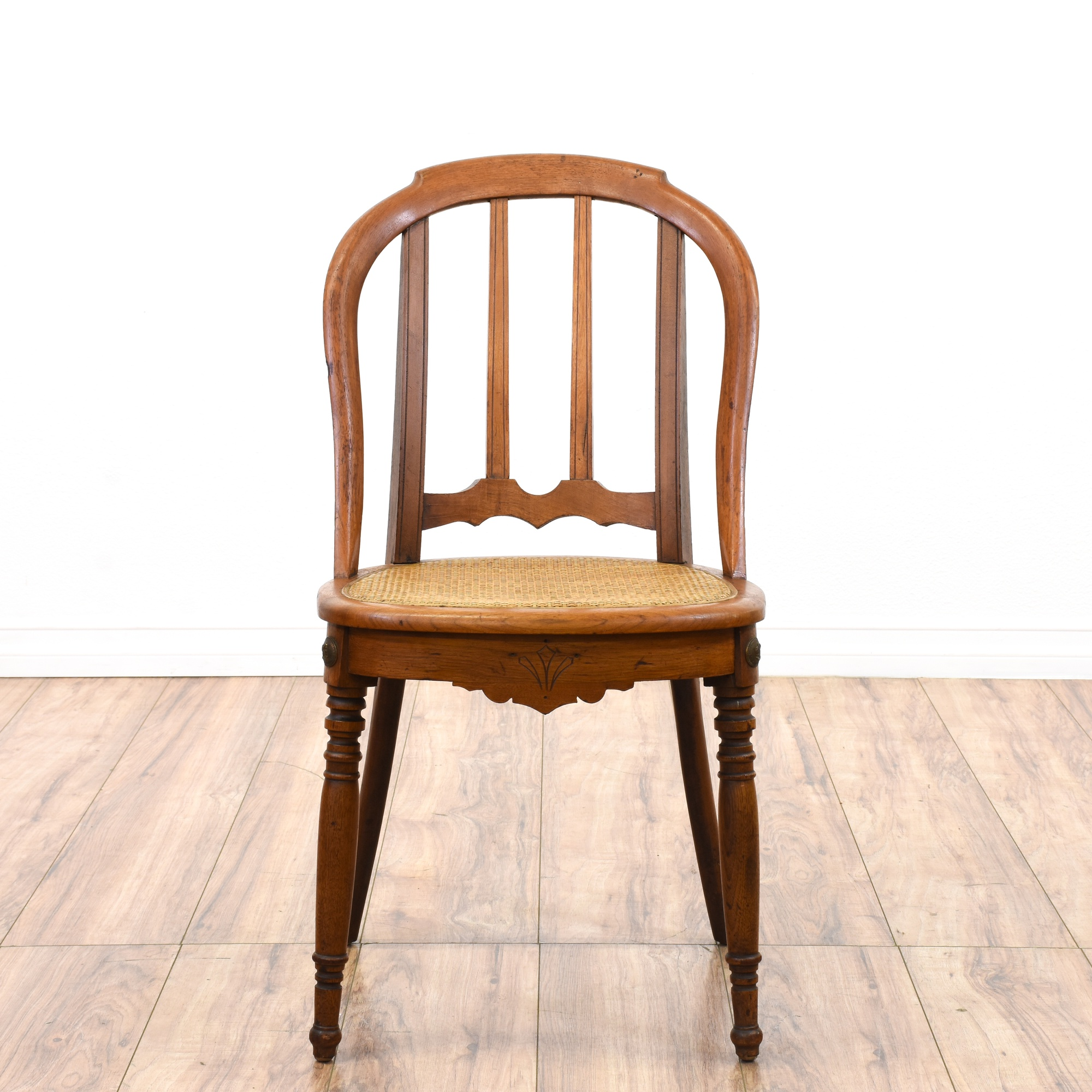 Early american antique woven seat pine chair