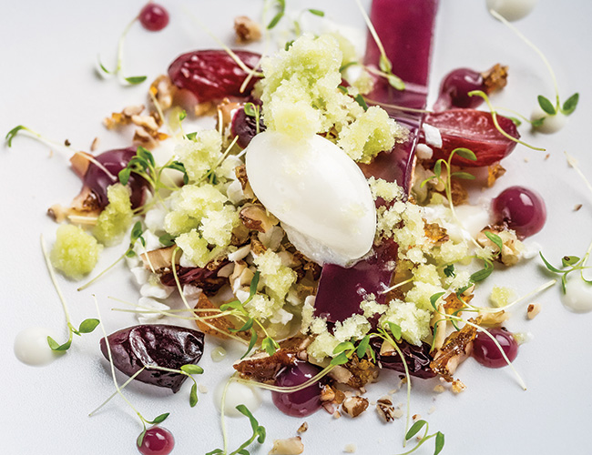 Grape, yoghurt and celery by Michael Wignall at Gidleigh Park