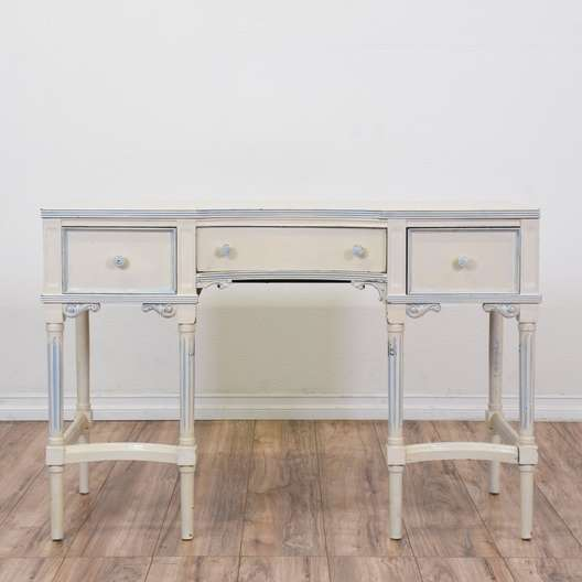 """""""Karges"""" White French Provincial 3 Drawer Desk"""
