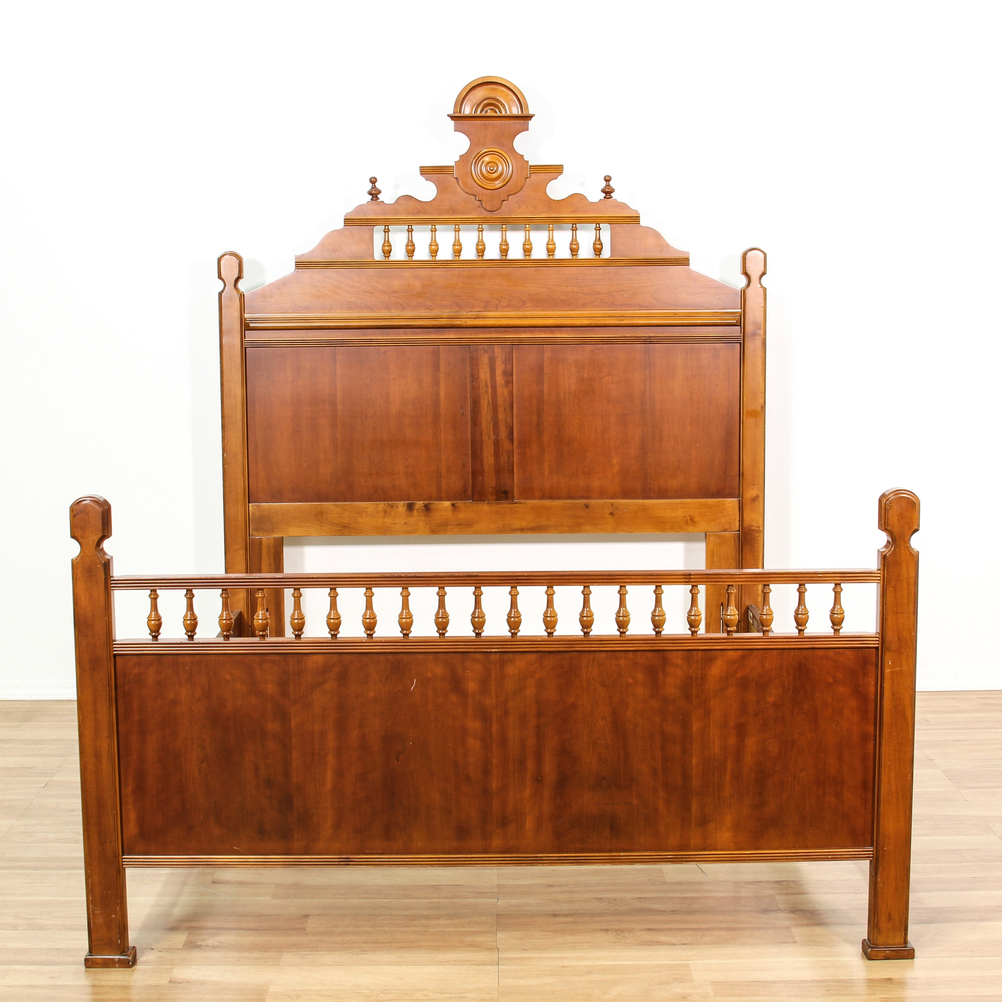 Queen Walnut Stained Bed Frame W Rails Loveseat Vintage Furniture San Diego Los Angeles