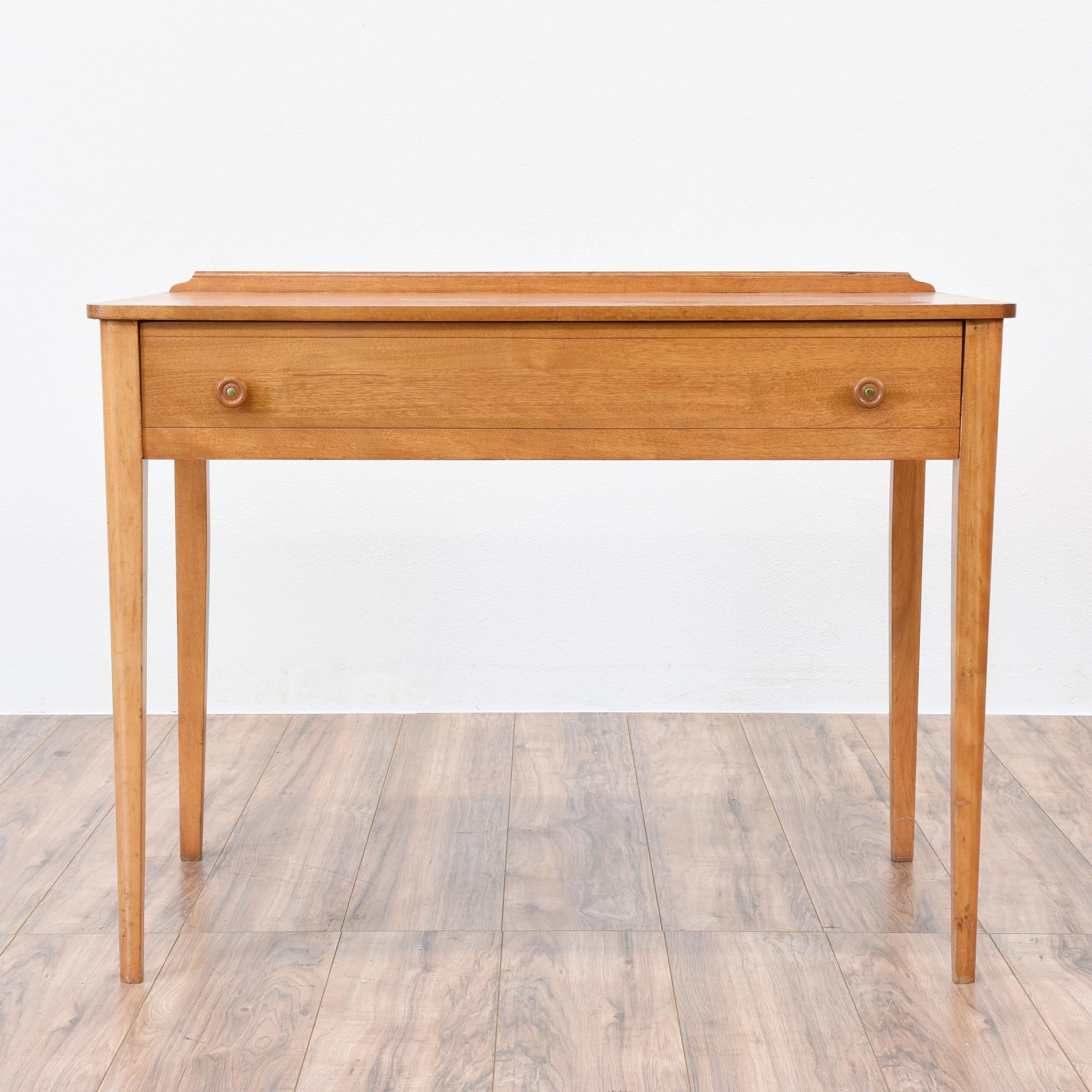 Simple mid century modern blonde wood desk loveseat for Mid century modern furniture san francisco
