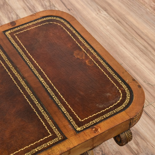 Carved Wood Leather Top Coffee Table Loveseat Vintage