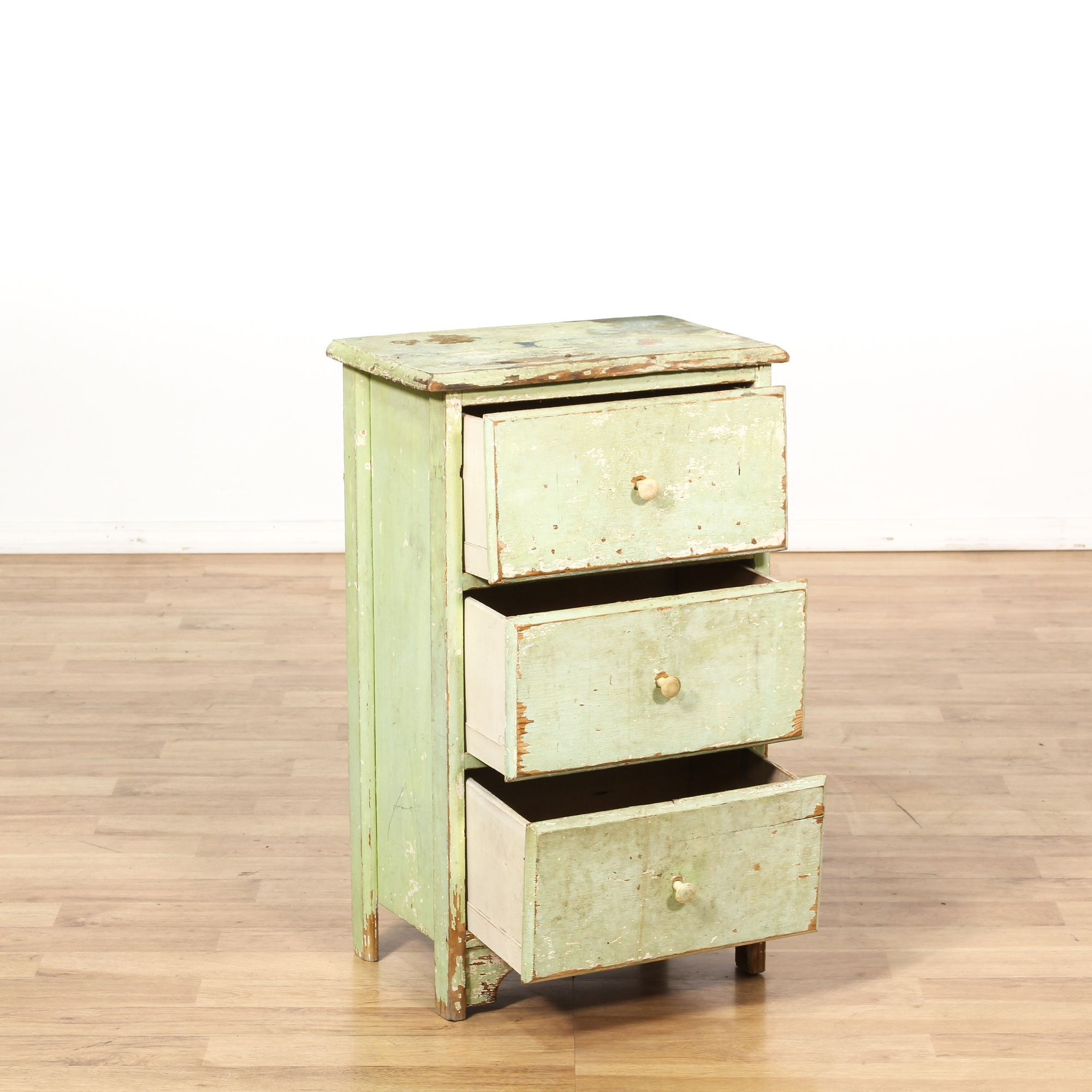 Shabby Chic Distressed Light Green Nightstand Loveseat Vintage Furniture San Diego Los Angeles