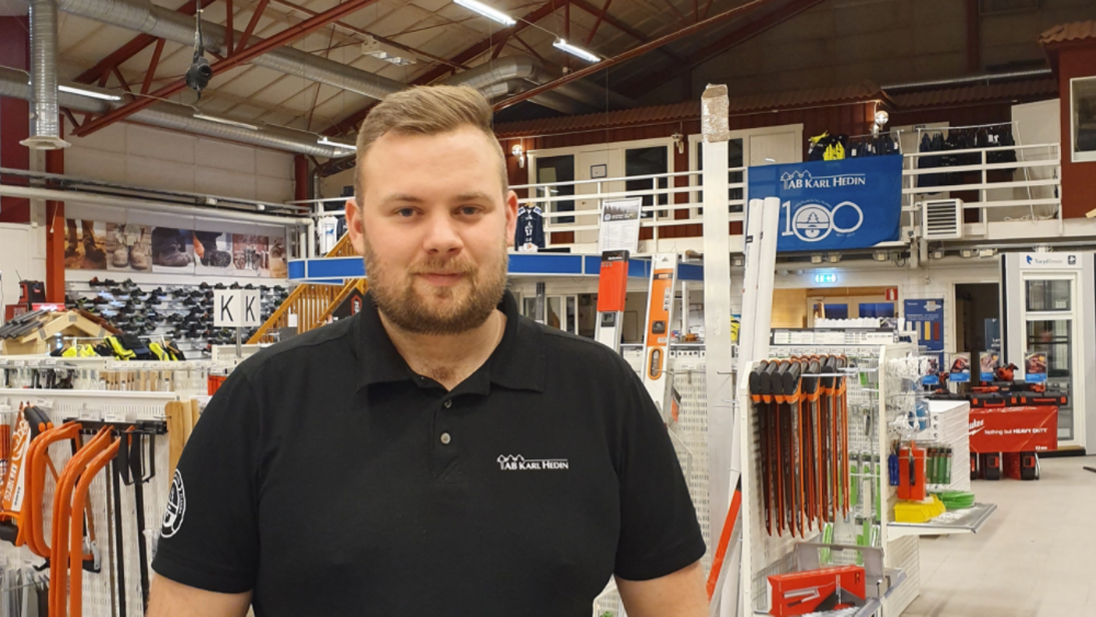 Fredrik Andersson, platschef på AB Karl Hedin Bygghandel i Sunne ser fram emot att utöka verksamheten tillsammans med ny och befintlig personal.