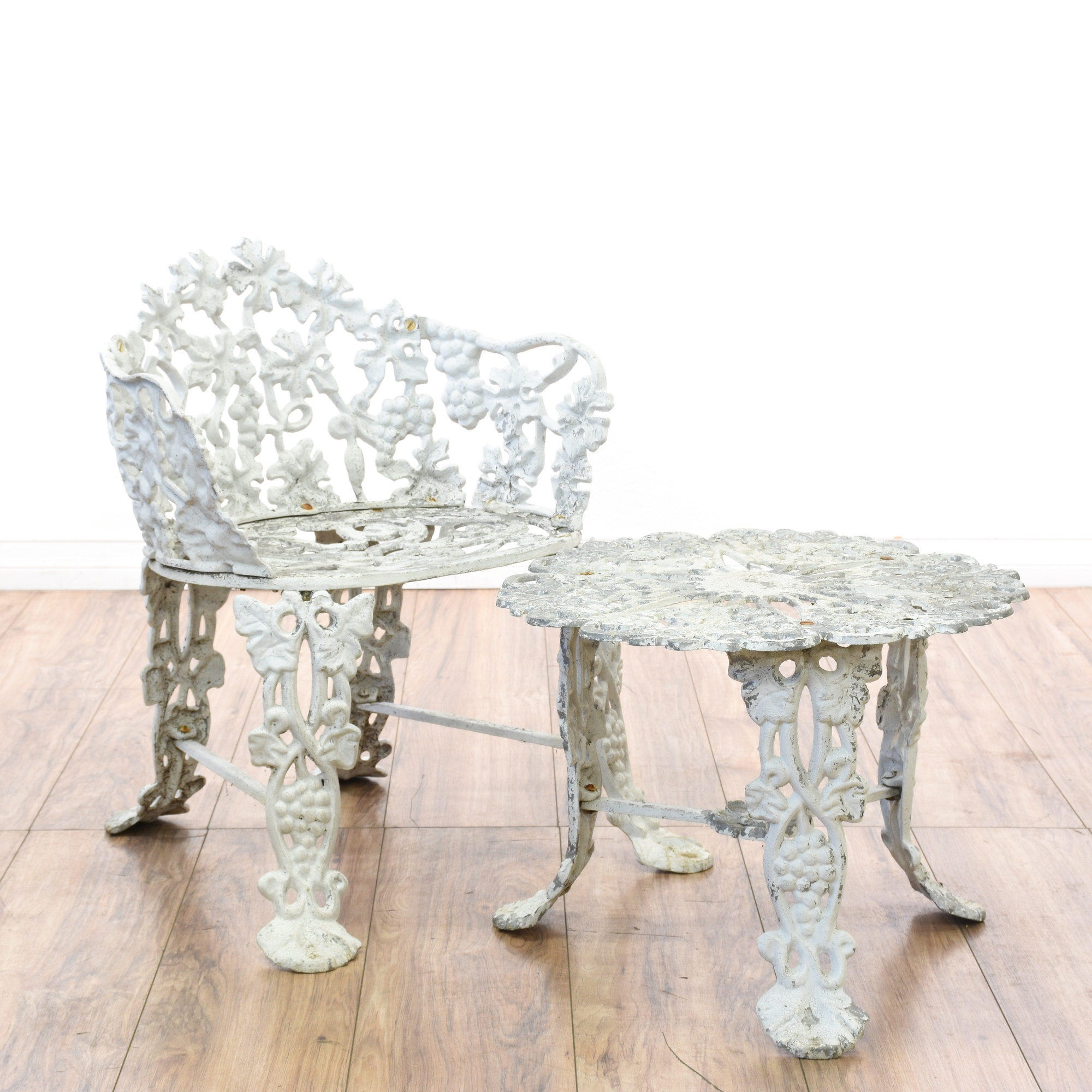 White Wrought Iron Floral Patio Chair Amp Table Loveseat
