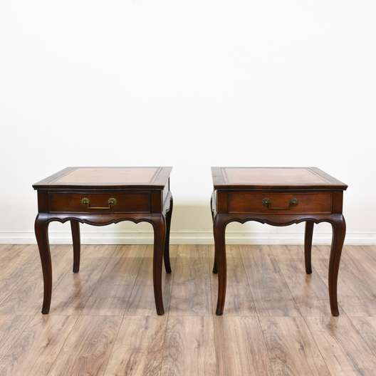 "Pair of ""Heritage Henredon"" Leather Top End Tables"
