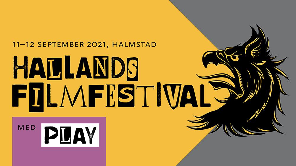 """Gul färgplatta med grip i svart och texten """"11-12 september 2021, Halmstad - Hallands filmfestival med PLAY""""."""