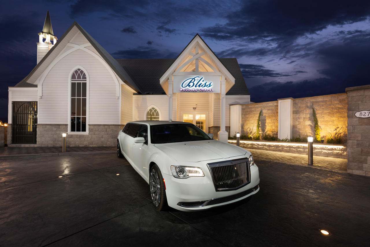 Bliss Wedding Chapel Entry Drive showing complimentary round trip limousine transportation to and from your Las Vegas Strip Hotel