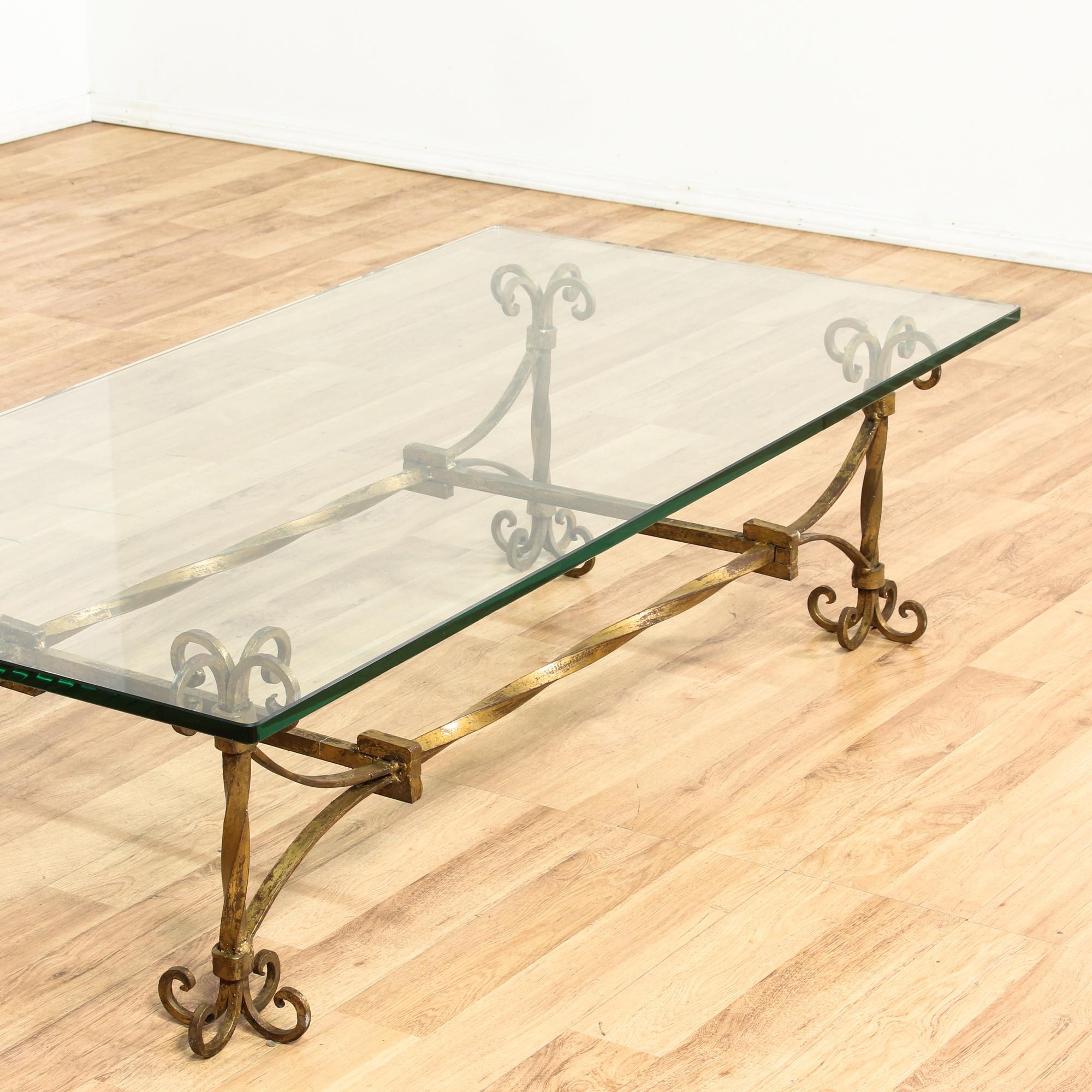 Glass Top W/ Gold Metal Base Coffee Table