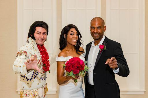 Can't Help Falling in Love hosted by Elvis elegant Chapel Ceremony ignite with Classic Red Bouquet of hand crafted Flowers