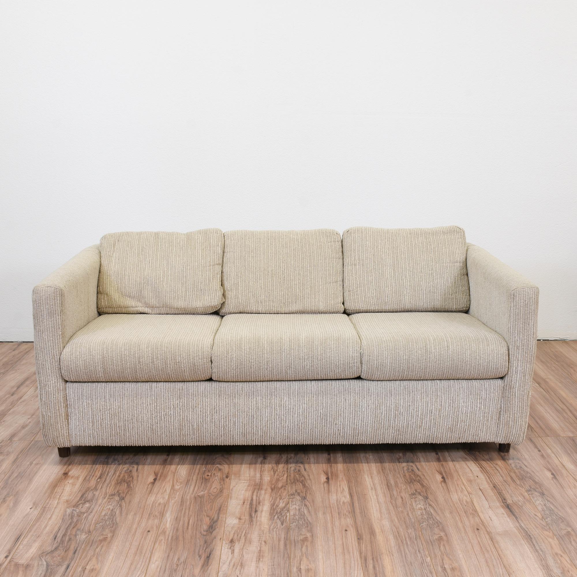 Beige Corduroy Sleeper Sofa | Loveseat Vintage Furniture San Diego