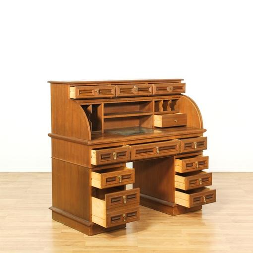 mid century teak panel roll top desk loveseat vintage furniture san diego los angeles. Black Bedroom Furniture Sets. Home Design Ideas