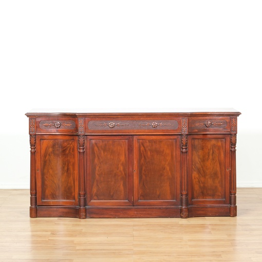 Carved Flame Mahogany Buffet Sideboard