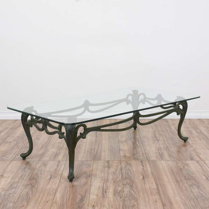 Vintage stylish used furniture in san diego los for Cast iron table with glass top