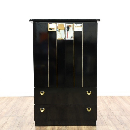 Contemporary Art Deco Black Lacquered Tall Dresser