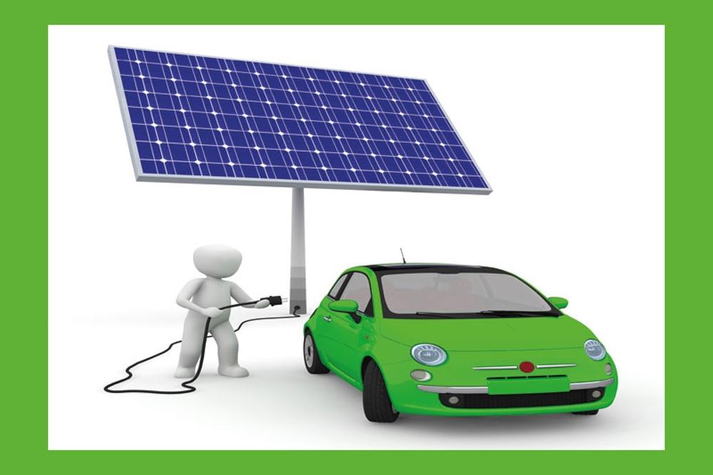 Bil laddar energi från solen