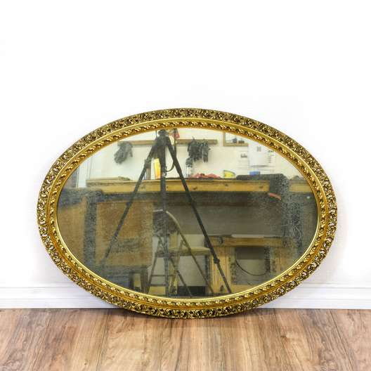 Oval Gold Carved Accent Mirror