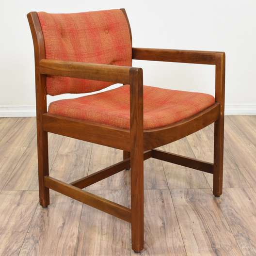 Red & Orange Plaid Mid Century Modern Armchair