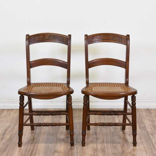 Set of Two Cane Seat Dining Side Chairs