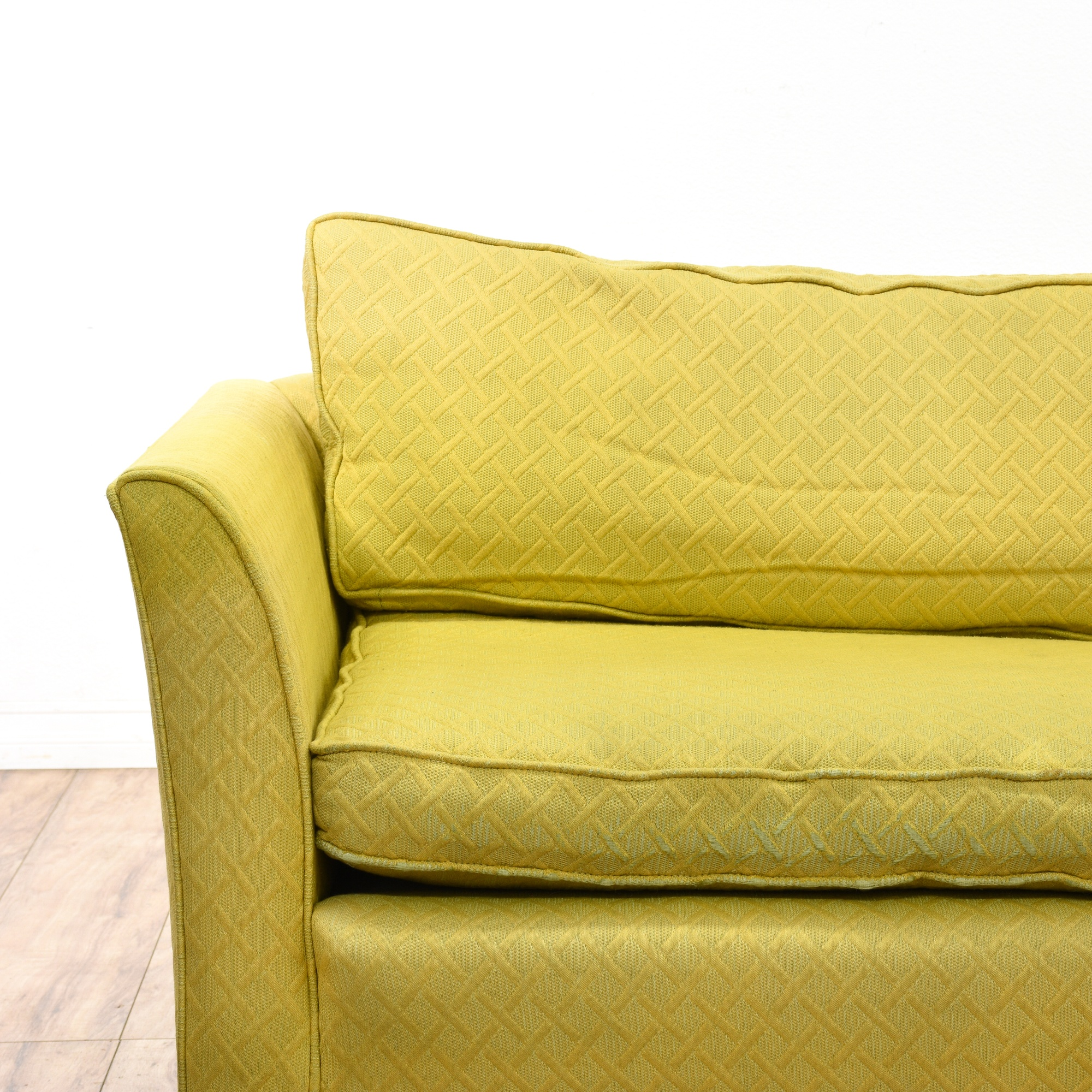Yellow Upholstered Mid Century Modern Sofa Loveseat Vintage Furniture San Diego Los Angeles
