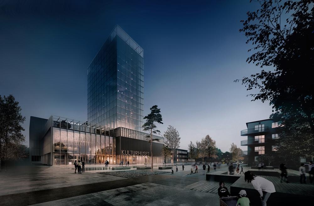 Med beslut om stöd för verksamheten de närmaste åren flyttar Nordiskt Berättarcentrum in i nya Sara kulturhus hösten 2021. Illustration: White Arkitekter