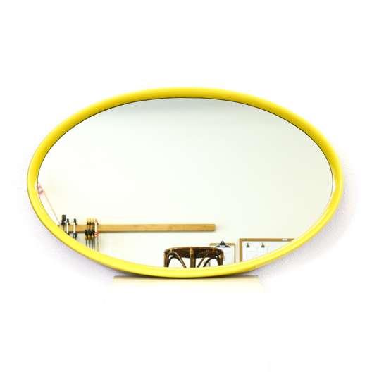 """Turner"" Oval Yellow Enamel Mirror"