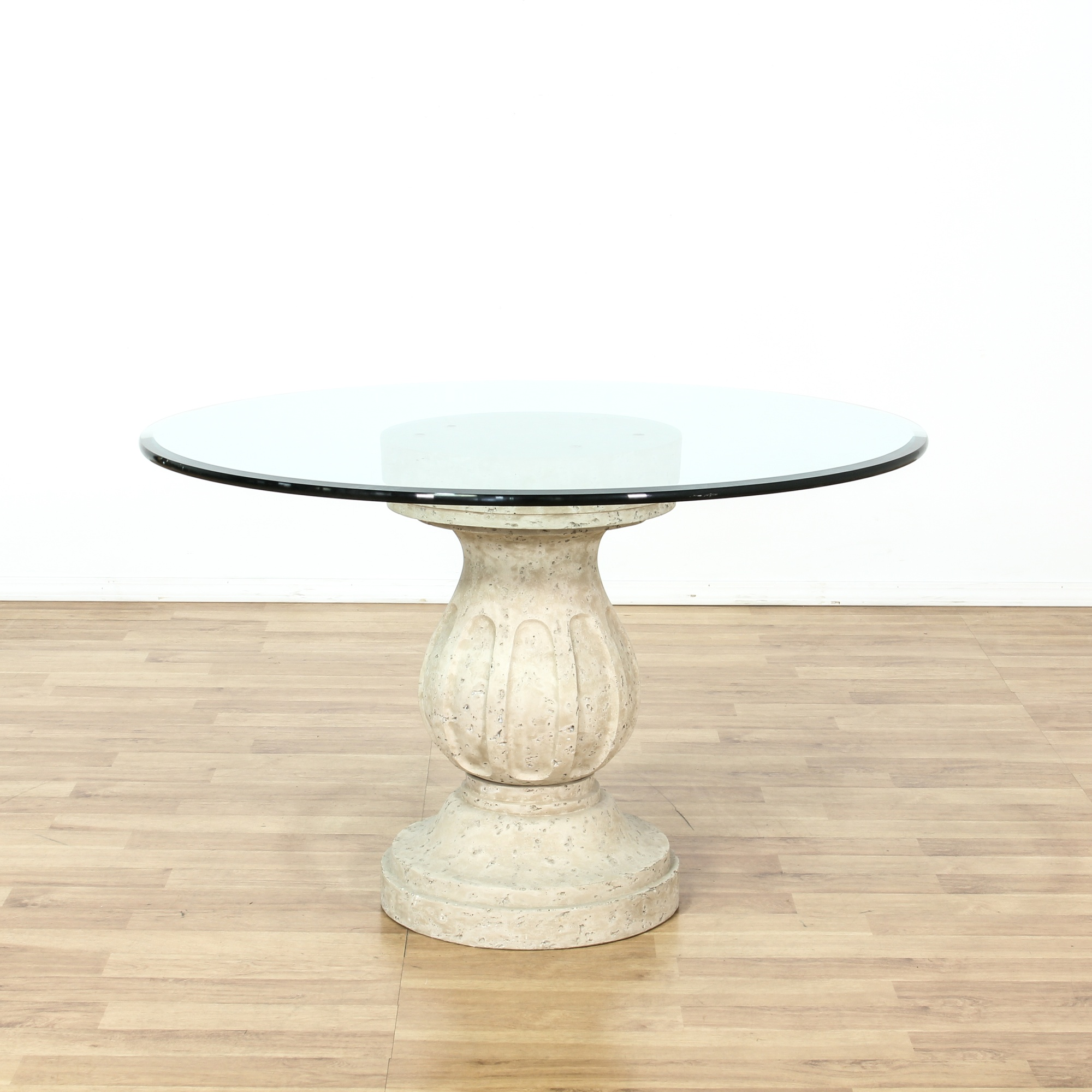 Round Glass Pedestal Coffee Table: Round Glass Top Table On Composition Pedestal Base