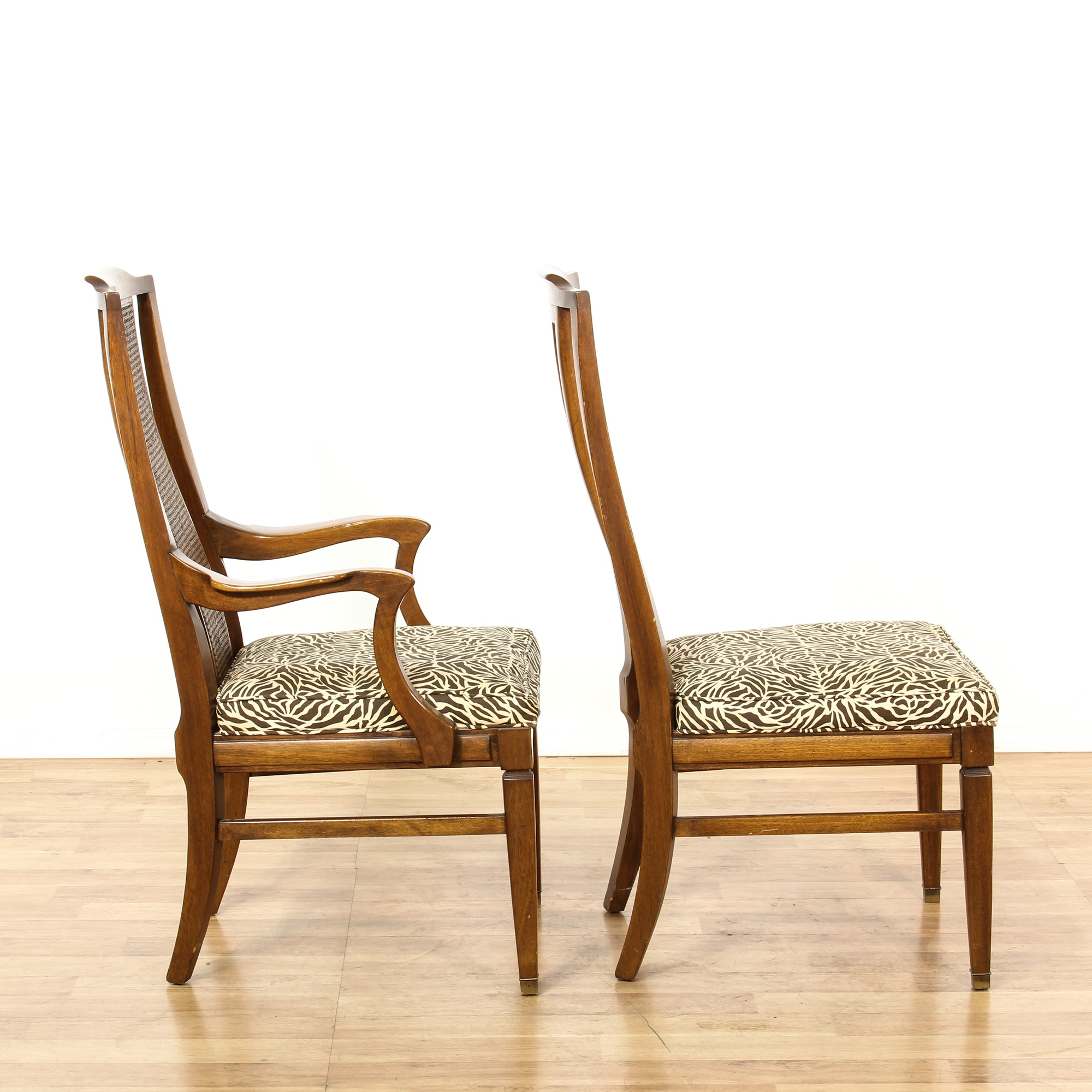 """Set Of 6 """"White"""" Cane Back Dining Chairs"""