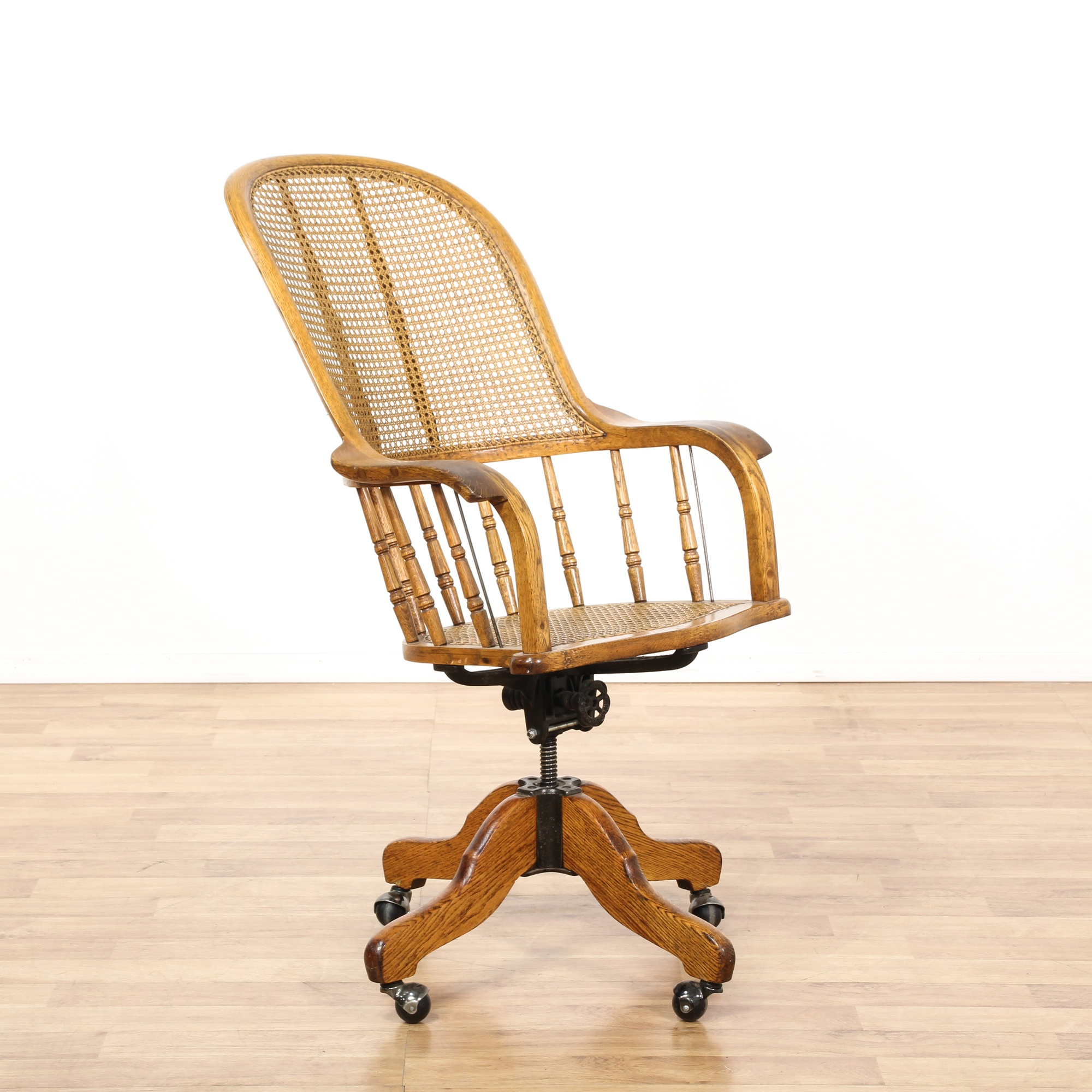 Oak Amp Wicker Swivel Desk Chair Loveseat Vintage