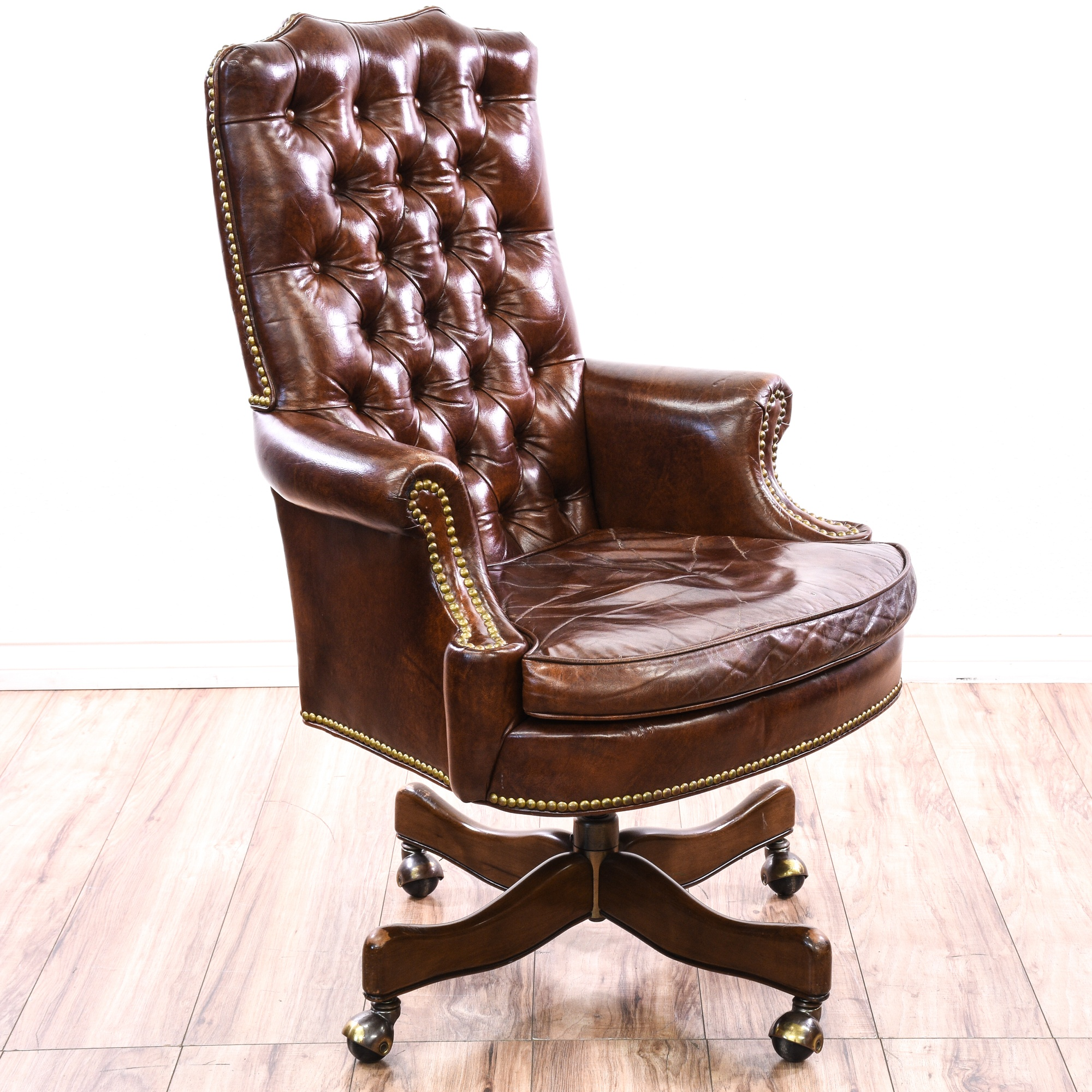 Tufted Brown Leather Studded Executive Chair | Loveseat ...