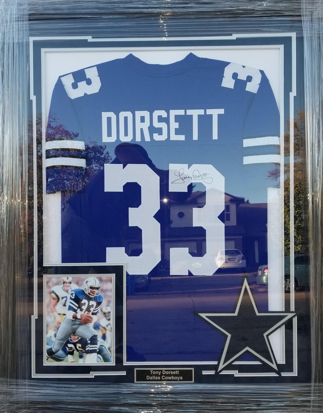 new concept 56895 658f7 Tony Dorsett signed jersey JSA authentication framed ...