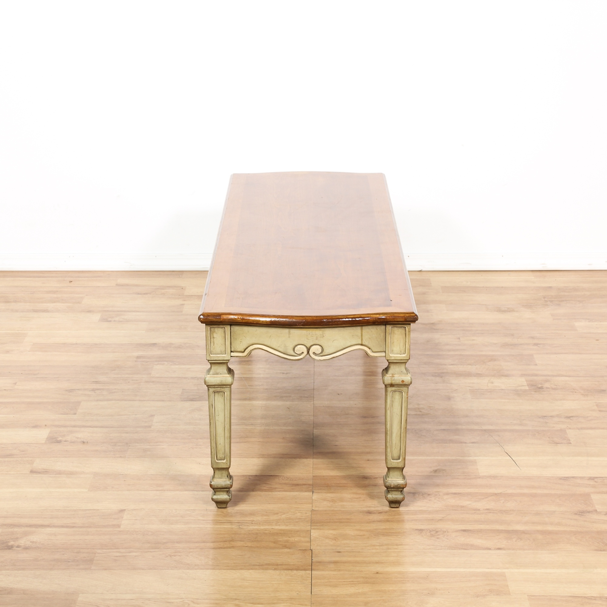 French Wood Coffee Table: French Provincial Cream Wood Top Coffee Table