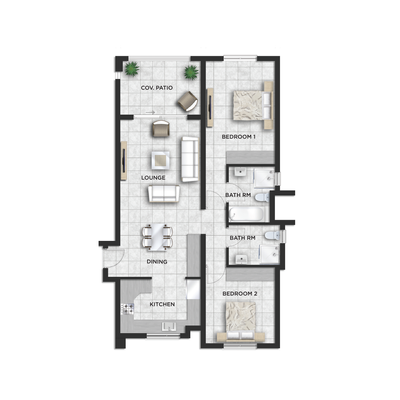 92sqm 2 Bed 2 Bath - Type F